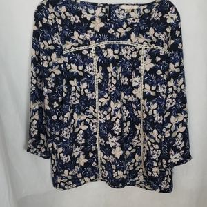 SKIES ARE BLUE blue floral blouse size large